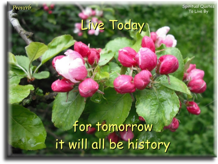 Proverb: Live today for tomorrow it will all be history. - Spiritual Quotes To Live By
