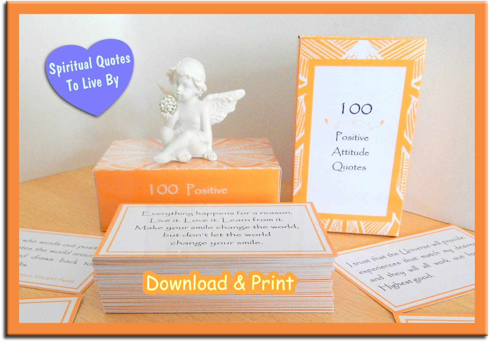 100 Positive Attitude Quote Cards to instantly download and print on Etsy - Spiritual Quotes To Live By