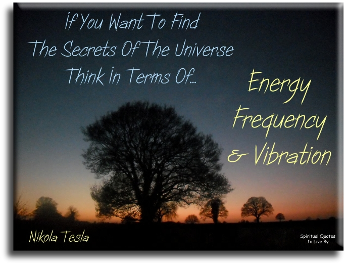 Nikola Tesla quote: If you want to find the secrets of the Universe, think in terms of energy, frequency and vibration. Spiritual Quotes To Live By