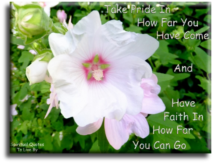 Take pride in how far you have come and have faith in how far you can go. (unknown) - Spiritual Quotes To Live By