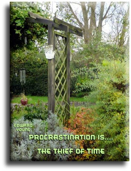 Procrastination is the thief of time - Edward Young - Spiritual Quotes To Live By