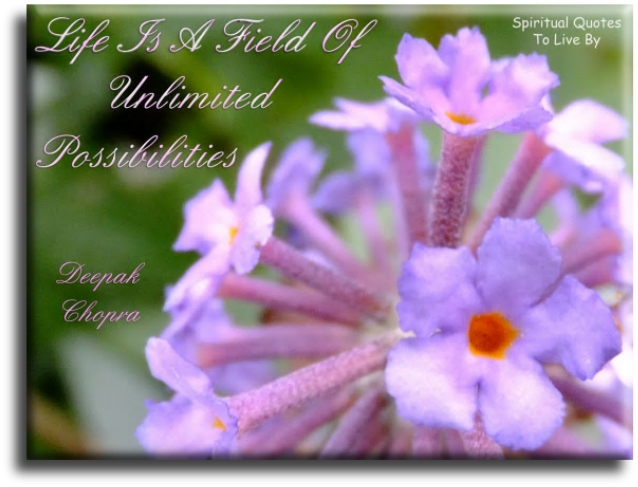 Deepak Chopra quote: Life is a field of unlimited possibilities. Spiritual Quotes To Live By