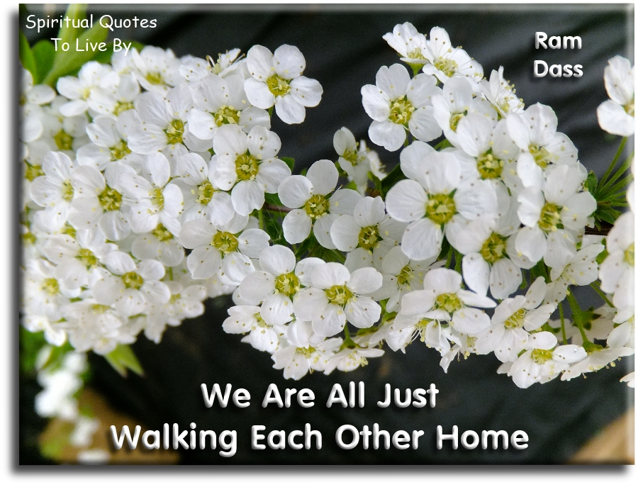 Ram Dass quote: We are just walking each other home. - Spiritual Quotes To Live By