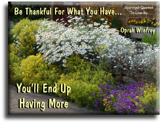 Be thankful for what you have, you'll end up having more - Oprah Winfrey - Spiritual Quotes To Live By