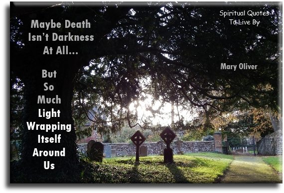 Maybe death isn't darkness at all but so much light wrapping itself around us - Mary Oliver - Spiritual Quotes To Live By