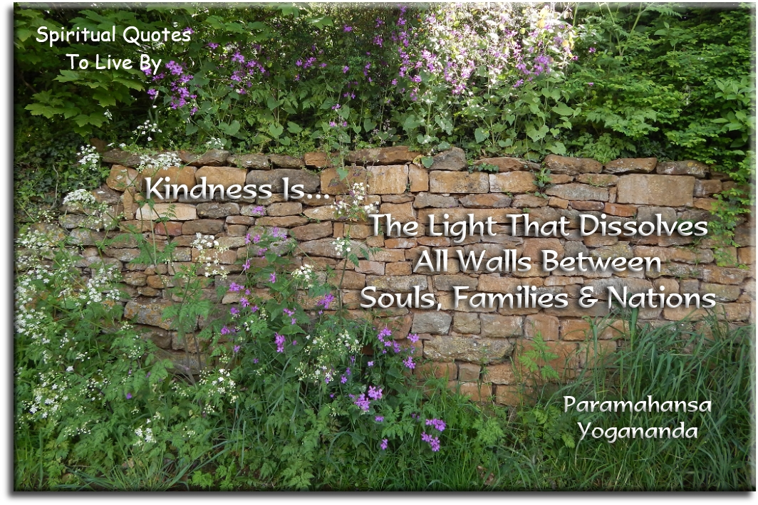 Paramahansa Yogananda quote: Kindness is the Light that dissolves all walls between Souls, families and nations. - Spiritual Quotes To Live By