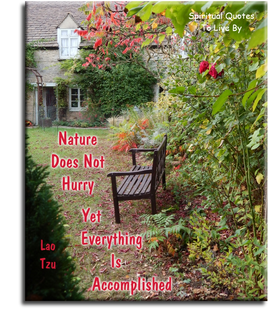 Lao Tzu quote: Nature does not hurry... Yet everything is accomplished. Spiritual Quotes To Live By