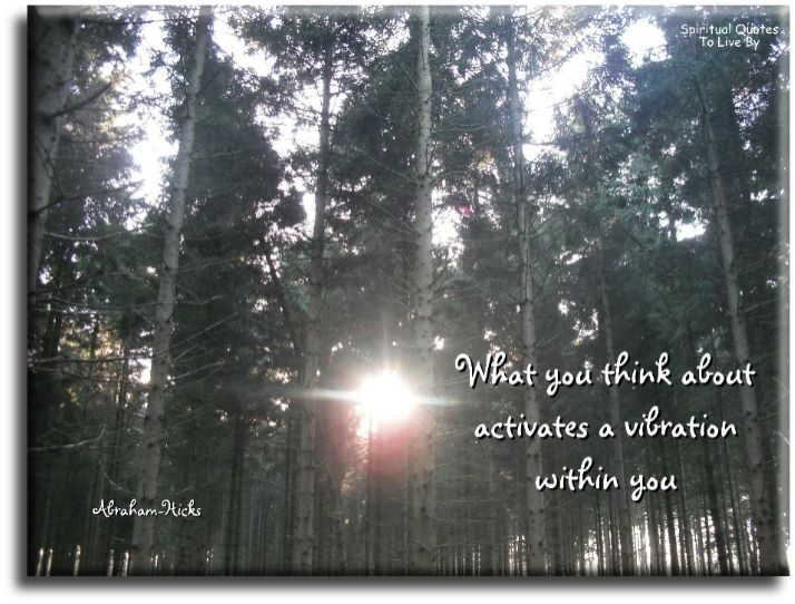 What you think about activates a vibration within you - Abraham-Hicks - Spiritual Quotes To Live By
