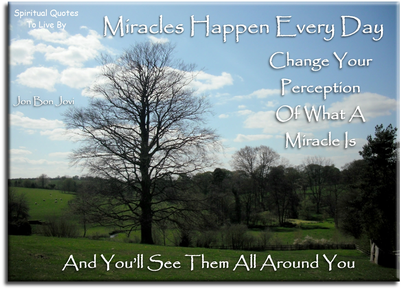 Miracles happen everyday, change your perception of what a miracle is and you'll see them all around you - Jon Bon Jovi - Spiritual Quotes To Live By
