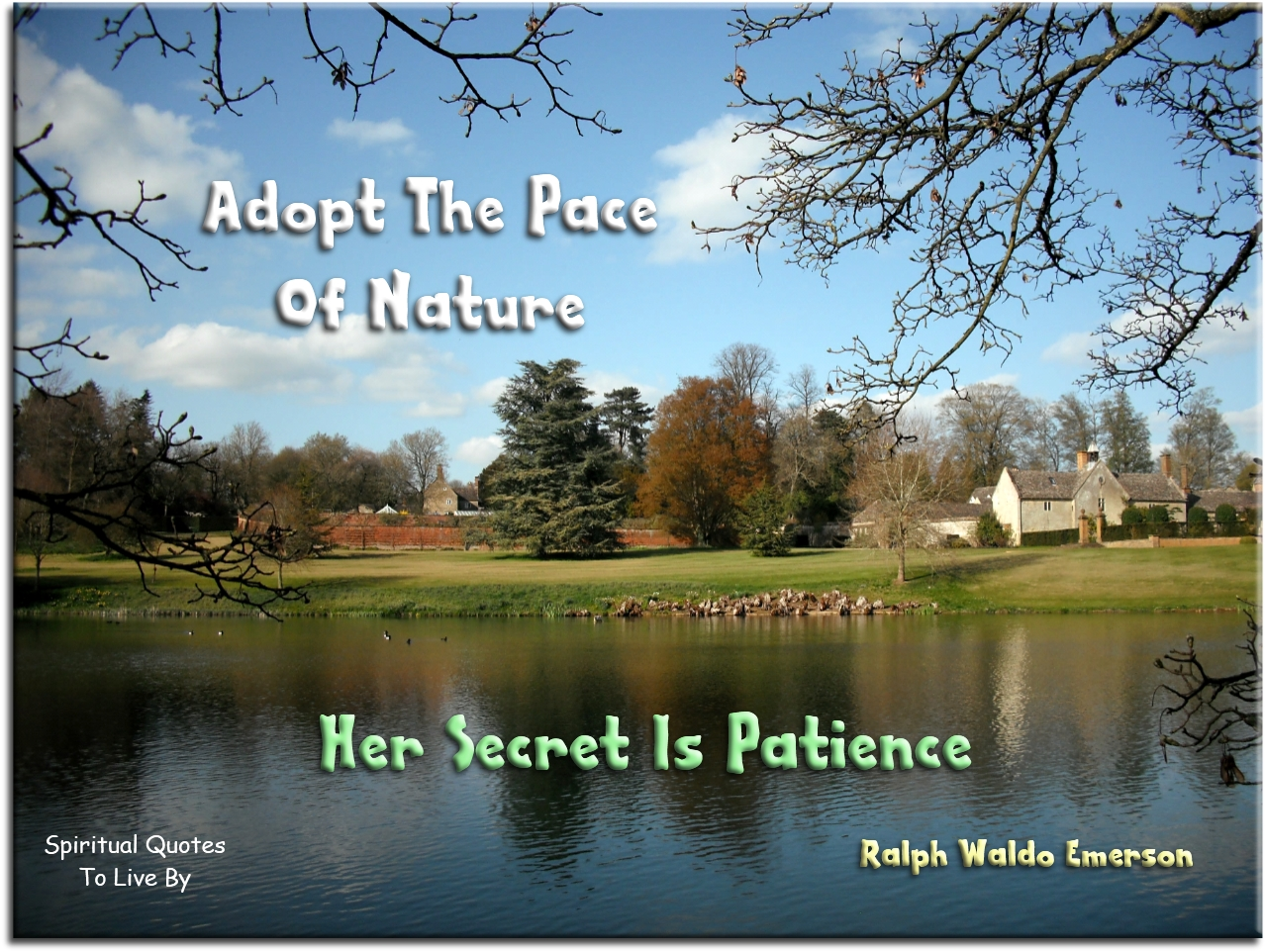 Adopt the pace of nature, her secret is patience - Ralph Waldo Emerson - Spiritual Quotes To Live By