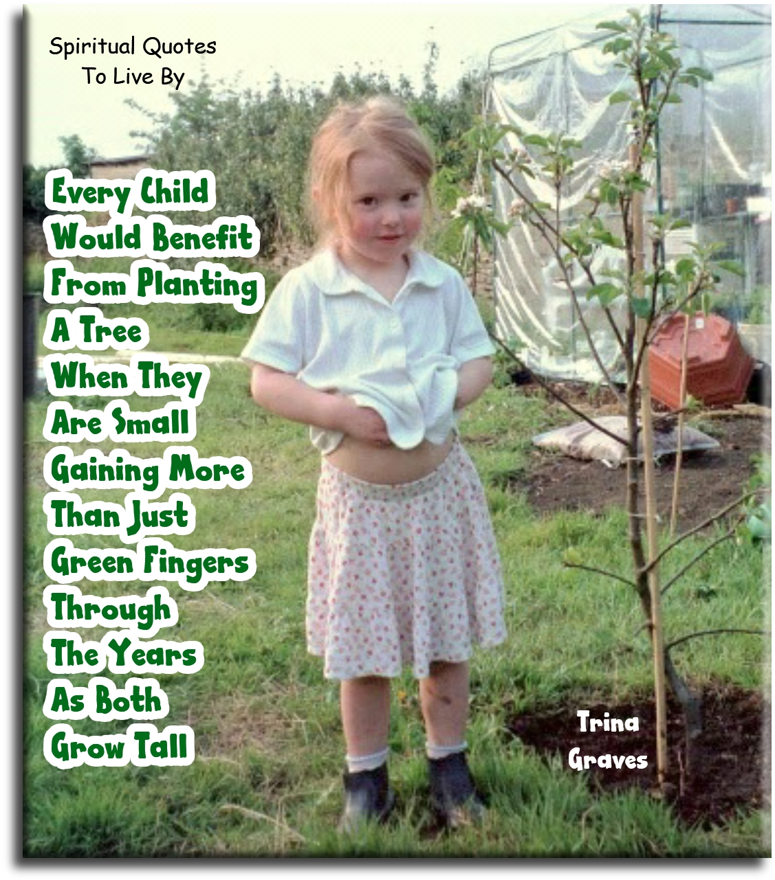 Every child would benefit from planting a tree when they are small, gaining more than just green fingers through the years as both grow tall - Trina Graves - Spiritual Quotes To Live By