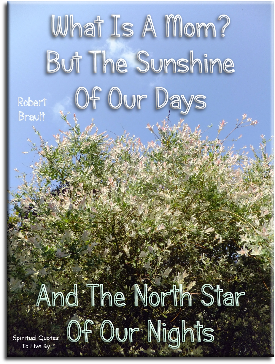 Robert Brault quote: What is a mom? But the sunshine of our days and the North star of our nights. - Spiritual Quotes To Live By