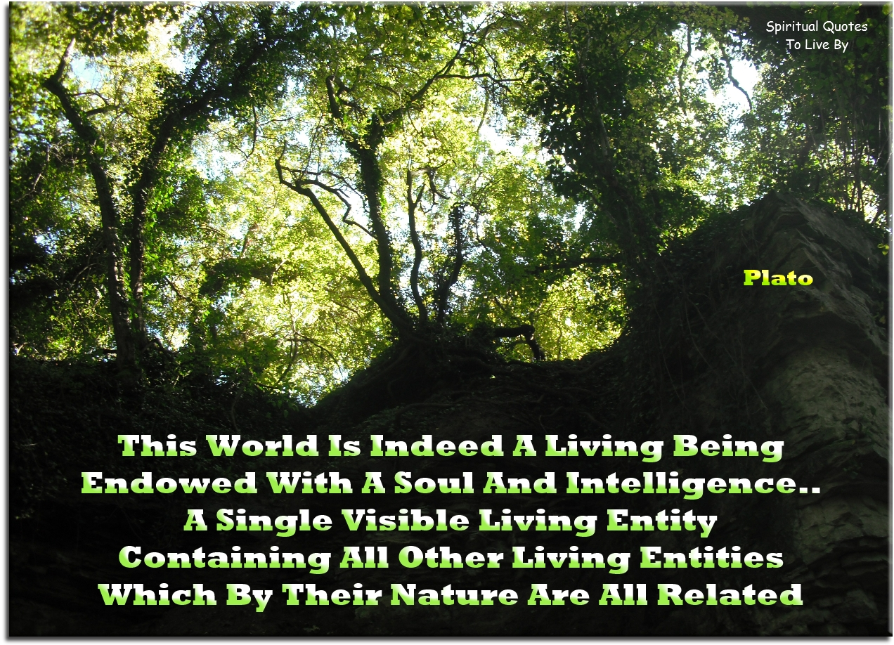 Plato quote: This world is indeed a living being endowed with a Soul and intelligence, a single visible living entity containing all other living entities.. - Spiritual Quotes To Live By