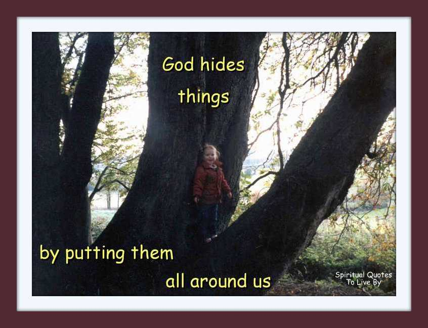 child hidding in tree with quote