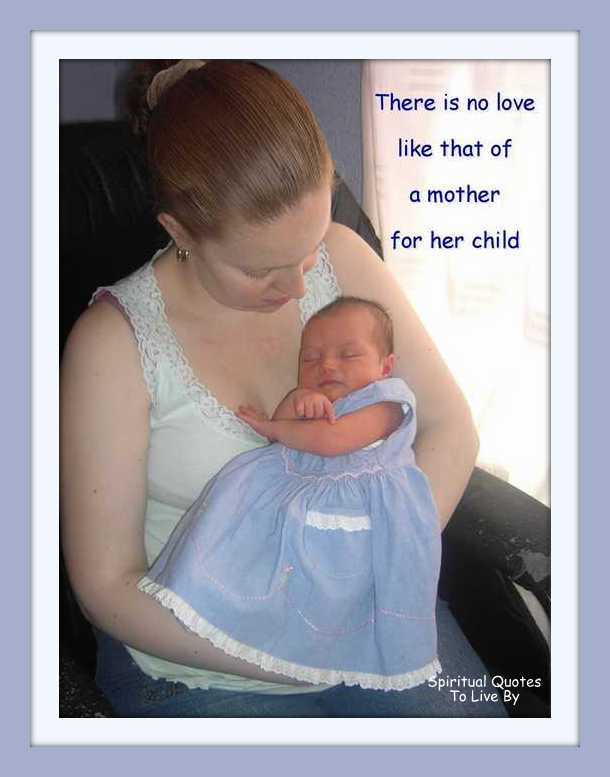 mother and newborn with quote