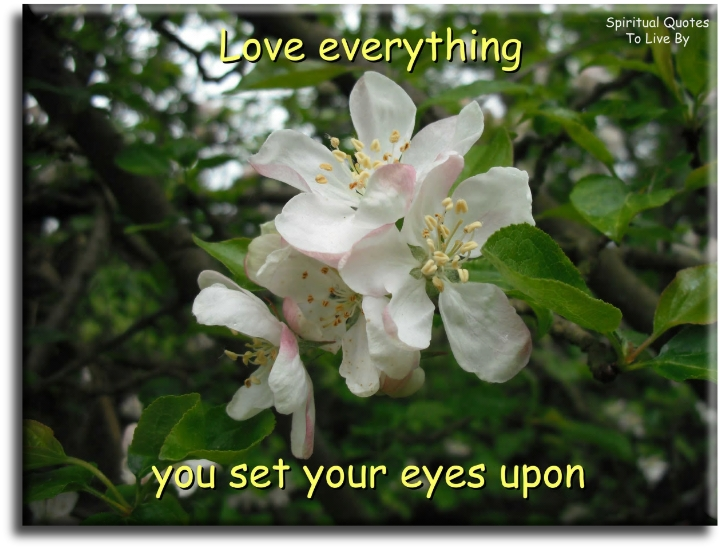Love everything you set your eyes upon - Spiritual Quotes To Live By