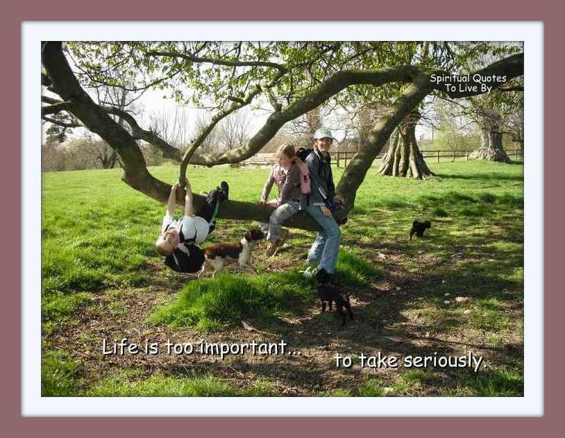 Life is too important to take seriously, quote on photo o