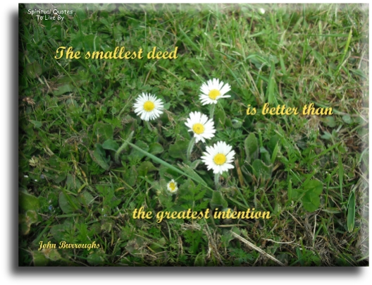John Burroughs quote: The smallest deed is better than the greatest intention. - Spiritual Quotes To Live By