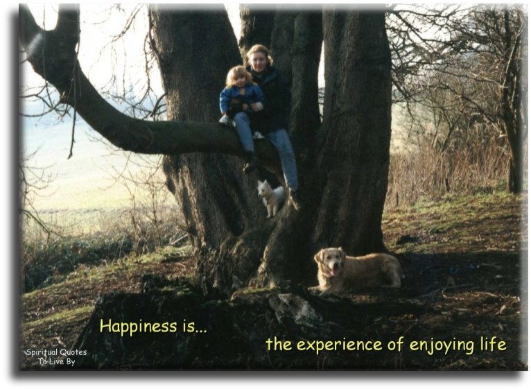 Happiness is...the experience of enjoying life. - (unknown) - Spiritual Quotes To Live By