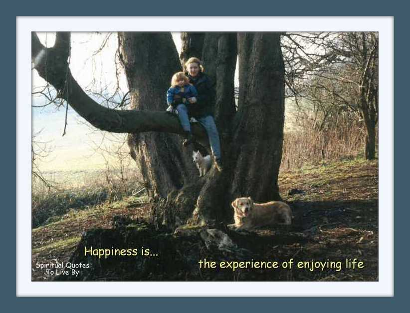 Happiness Is - quote on photo of teenager and toddler in a tree
