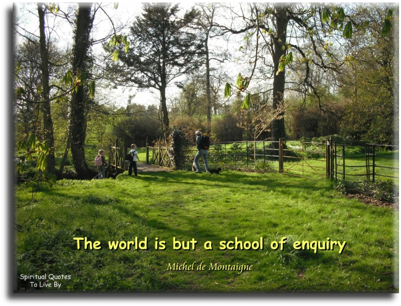 Michel de Montaigne quote: The world is but a school of enquiry. - Spiritual Quotes To Live By