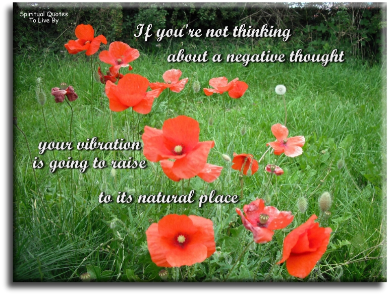 If you're not thinking about a negative thought, your vibration is going to raise - Abraham-Hicks - Spiritual Quotes To Live By