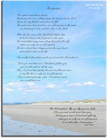 FOOTPRINTS inspirational poem - instantly download and print from Spiritual Quotes To Live By on Etsy