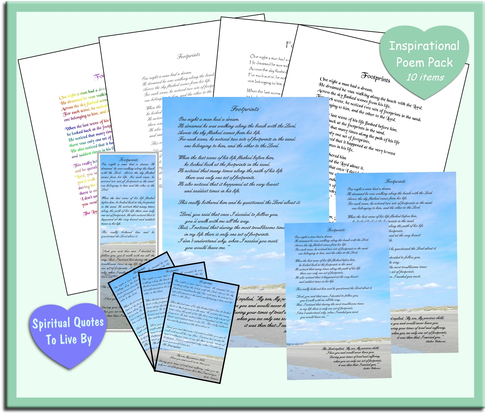 FOOTPRINTS 10 item poem pack - instantly download and print from Spiritual Quotes To Live By on Etsy