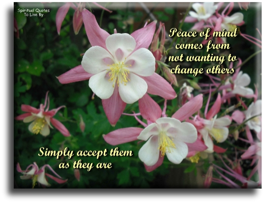 Peace of mind comes from not wanting to change others, simply accept them as they are. (unknown) - Spiritual Quotes To Live By