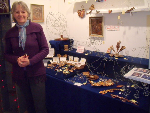 Sandra Reeves with some of her copper and wire sculptures