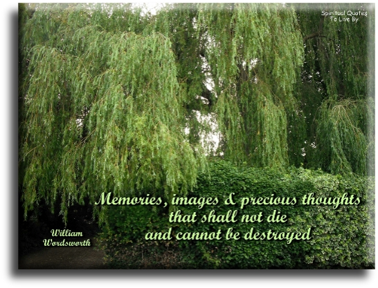Memories: Images and precious thoughts that shall not die and cannot be destroyed - William Wordsworth - Spiritual Quotes To Live By