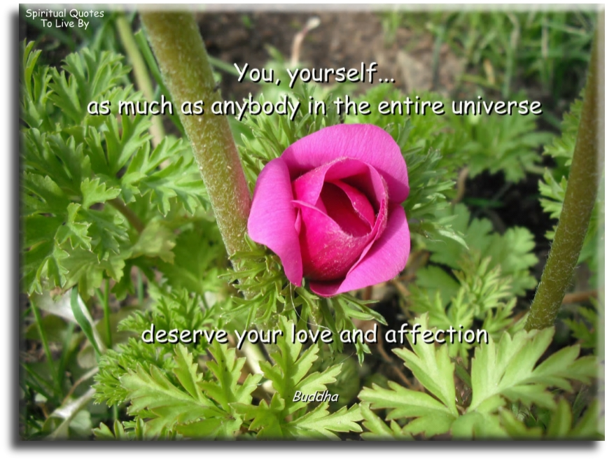 Buddha quote: You, yourself, as much as anybody in the entire Universe, deserves you love and affection. - Spiritual Quotes To Live By