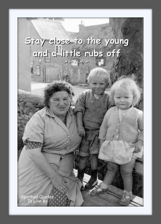 Black & white photo of grandmother & two children
