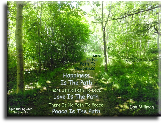 There is no path to happiness, happiness is the path. There is no path to love, love is the path. There is no path to peace, peace is the path - Dan Millman - Spiritual Quotes To Live By