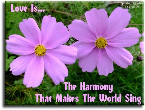 Love is the harmony that makes the world sing - Spiritual Quotes To Live By