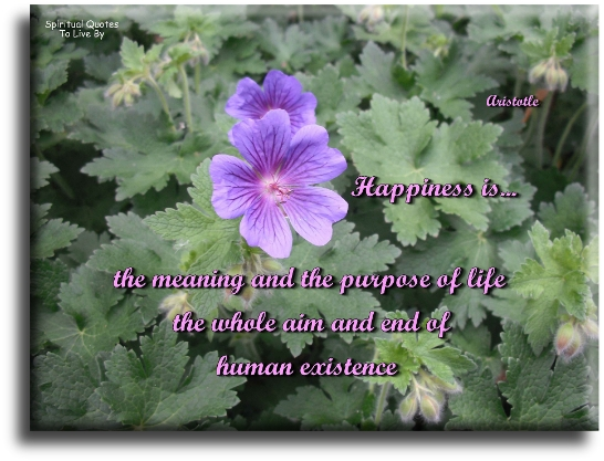Happiness is the meaning and the purpose of life,  the whole aim and end of human existence - Aristotle - Spiritual Quotes To Live By