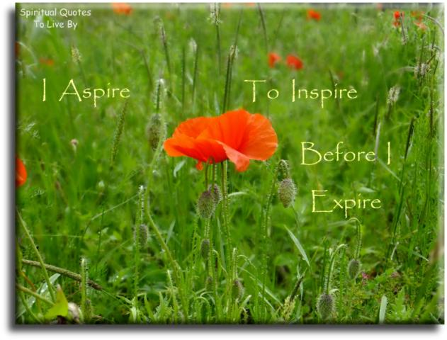 I aspire to inspire before I expire - quote on photo of red poppy in field - Spiritual Quotes To Live By