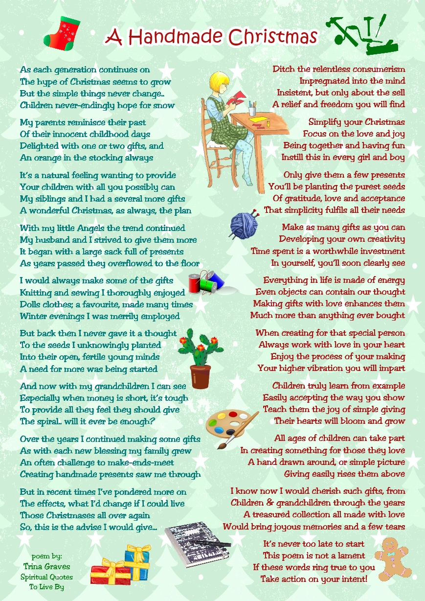 A Handmade Christmas - inspirational poem by Trina Graves of Spiritual Quotes To Live By