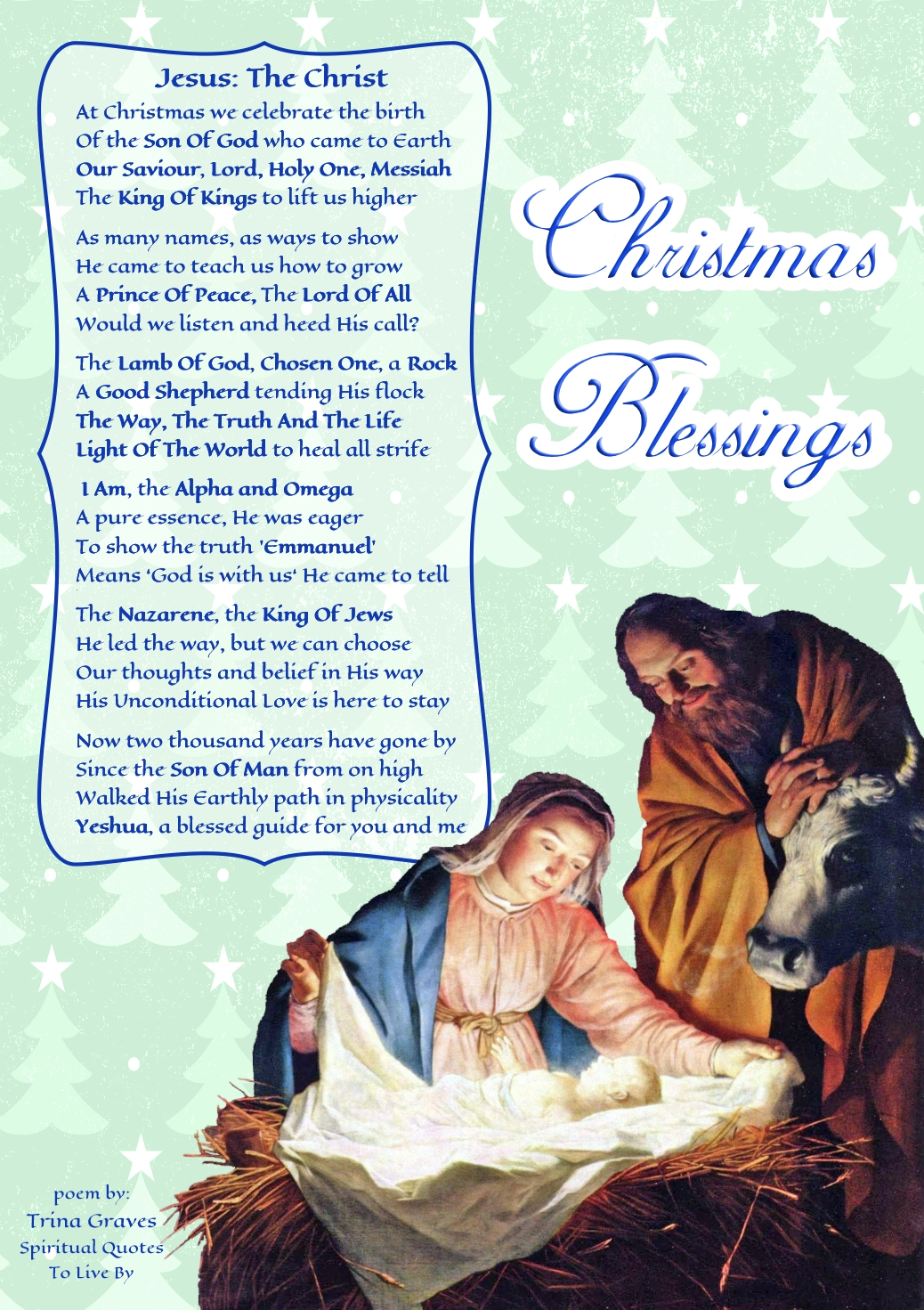 Jesus: The Christ - inspirational Christmas poem by Trina Graves of Spiritual Quotes To Live By