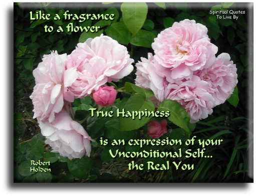 Like a fragrance to a flower, true happiness is an expression of your unconditional self, the real you - Robert Holden - Spiritual Quotes To Live By