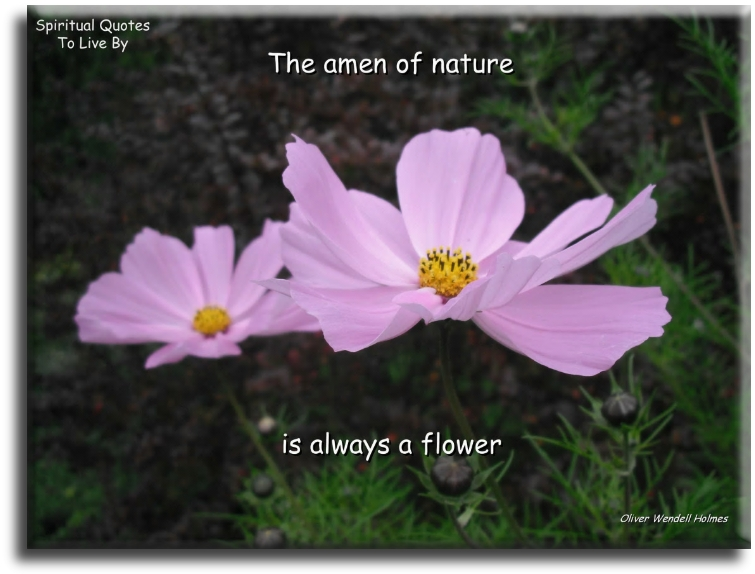 The Amen of nature is always a flower - Oliver Wendell Holmes - Spiritual Quotes To Live By