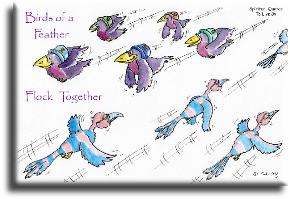 Proverb: Birds of a feather, flock together. illustration by Sandra Reeves - Spiritual Quotes To Live By
