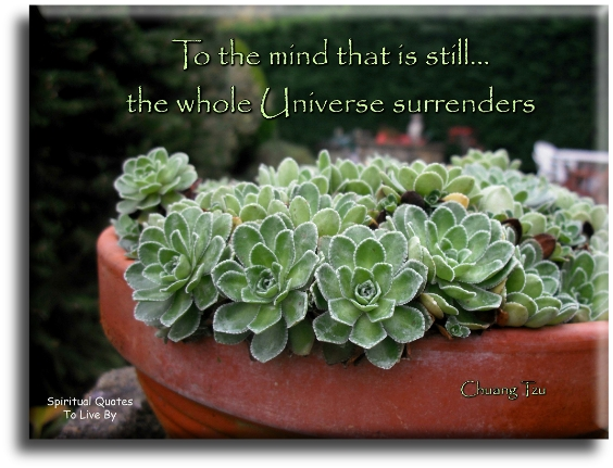 Chuang Tzu quote: To the mind that is still the whole universe surrenders. - Spiritual Quotes To Live By