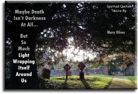 Mary Oliver quote: Maybe death isn't darkness at all but so much light wrapping itself around us. - Spiritual Quotes To Live By