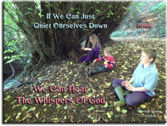 Davidji quote: If we can just quiet ourselves down, we can hear the whispers of God. Spiritual Quotes To Live By