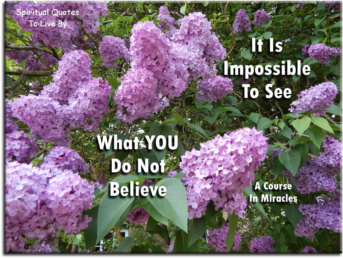 A Course In Miracles quote: It is impossible to see what you do not believe. - Spiritual Quotes To Live By
