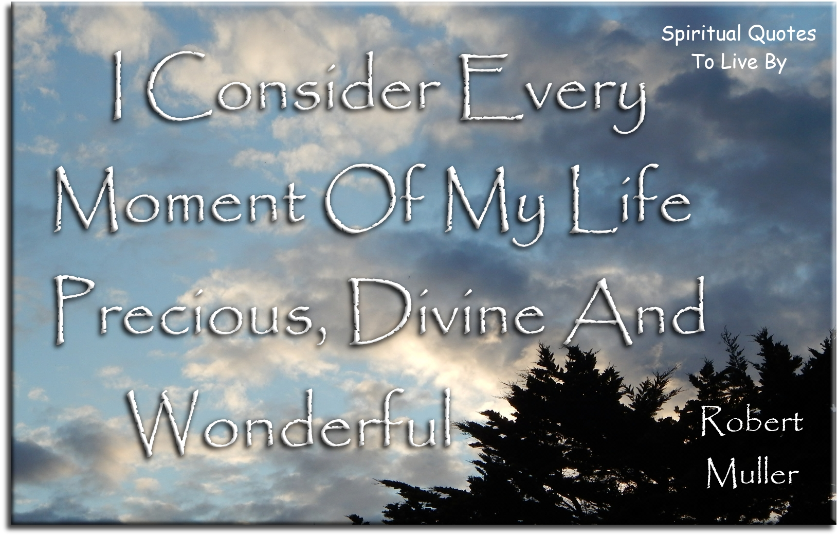Robert Muller quote: I consider every moment of my life precious, Divine and wonderful. - Spiritual Quotes To Live By