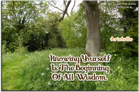 Aristotle quote: Knowing yourself is the beginning of all wisdom. - Spiritual Quotes To Live By