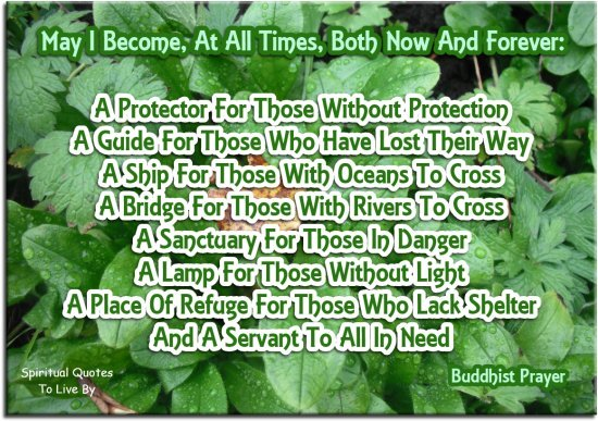 Buddhist Prayer - May I become at all times, both now and forever: A protector for those without protection. A guide for those who have lost their way.. - Spiritual Quotes To Live By
