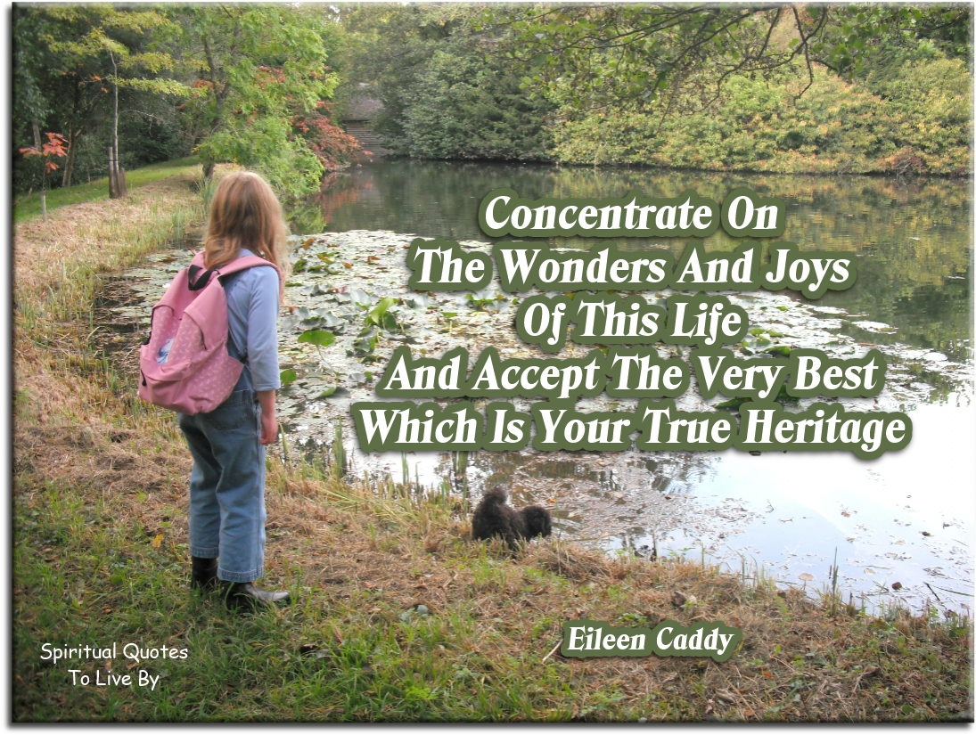 Eileen Caddy quote: Concentrate on the wonders and joys of this life, and accept the very best which is your true heritage. - Spiritual Quotes To Live By
